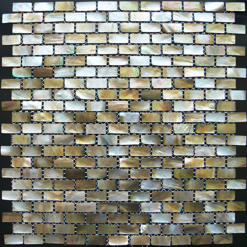Brown Mother of Pearl - Penguin Natural Shell Mosaic Sheet, Brick 10x20mm, 1 tile